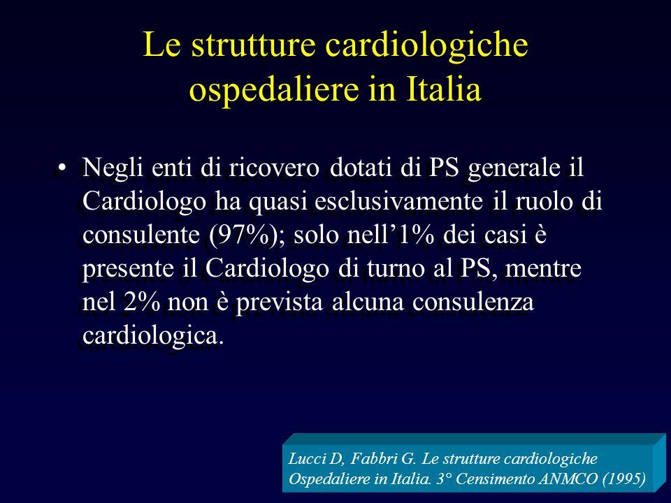 Le strutture cardiologiche ospedaliere in Italia Negli enti di ricovero dotati di PS generale il Cardiologo ha quasi esclusivamente il ruolo di consulente (97%); solo nell1% dei casi è presente il Cardiologo di turno al PS, mentre nel 2% non è prevista alcuna consulenza cardiologica.