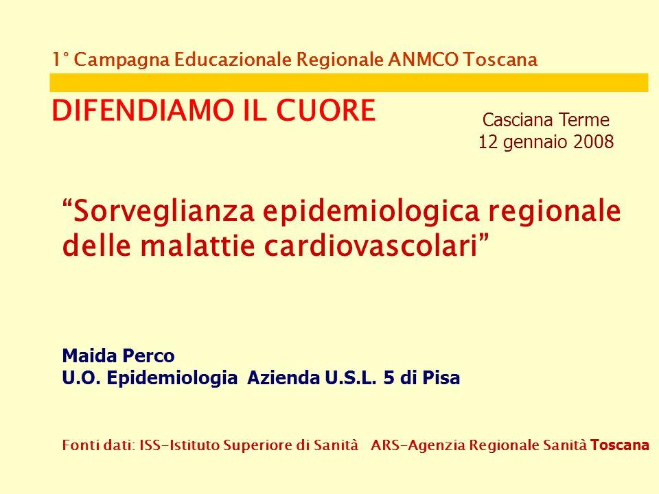 1° Campagna Educazionale Regionale ANMCO Toscana DIFENDIAMO IL CUORE Casciana Terme 12 gennaio 2008 Sorveglianza epidemiologica regionale delle malattie cardiovascolari Maida Perco U.O.