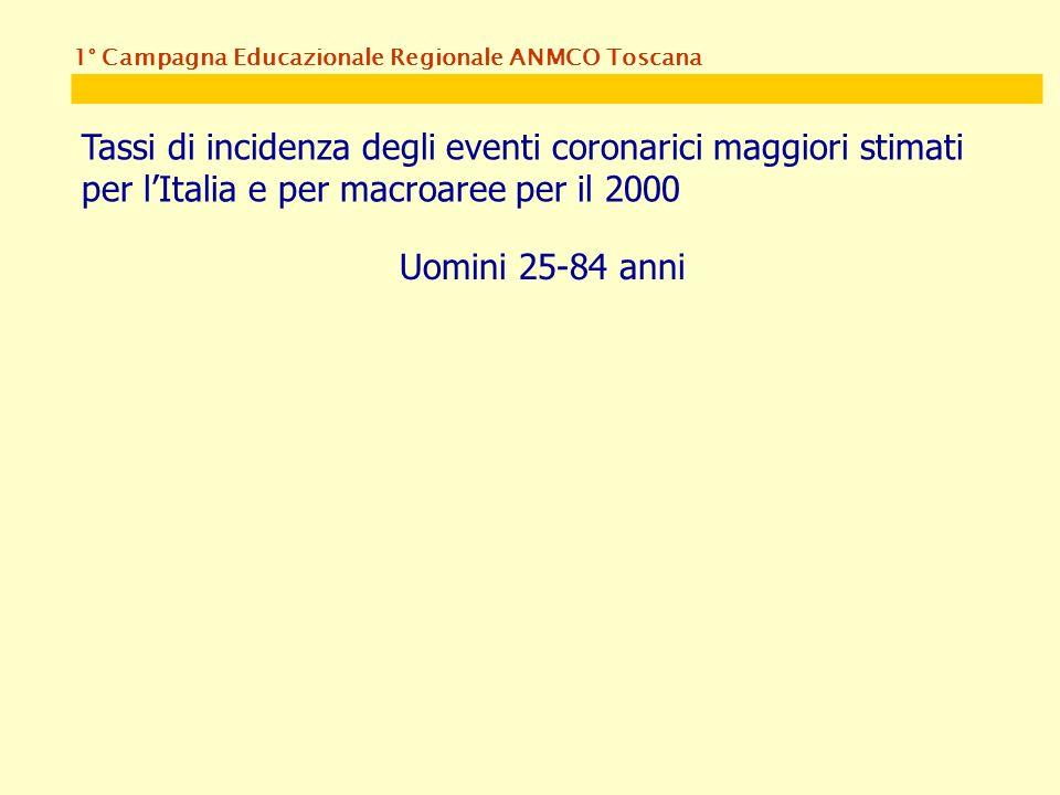 1° Campagna Educazionale Regionale ANMCO Toscana Tassi di incidenza degli eventi coronarici maggiori stimati per lItalia e per macroaree per il 2000 Uomini 25-84 anni