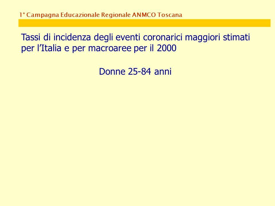 1° Campagna Educazionale Regionale ANMCO Toscana Tassi di incidenza degli eventi coronarici maggiori stimati per lItalia e per macroaree per il 2000 Donne 25-84 anni