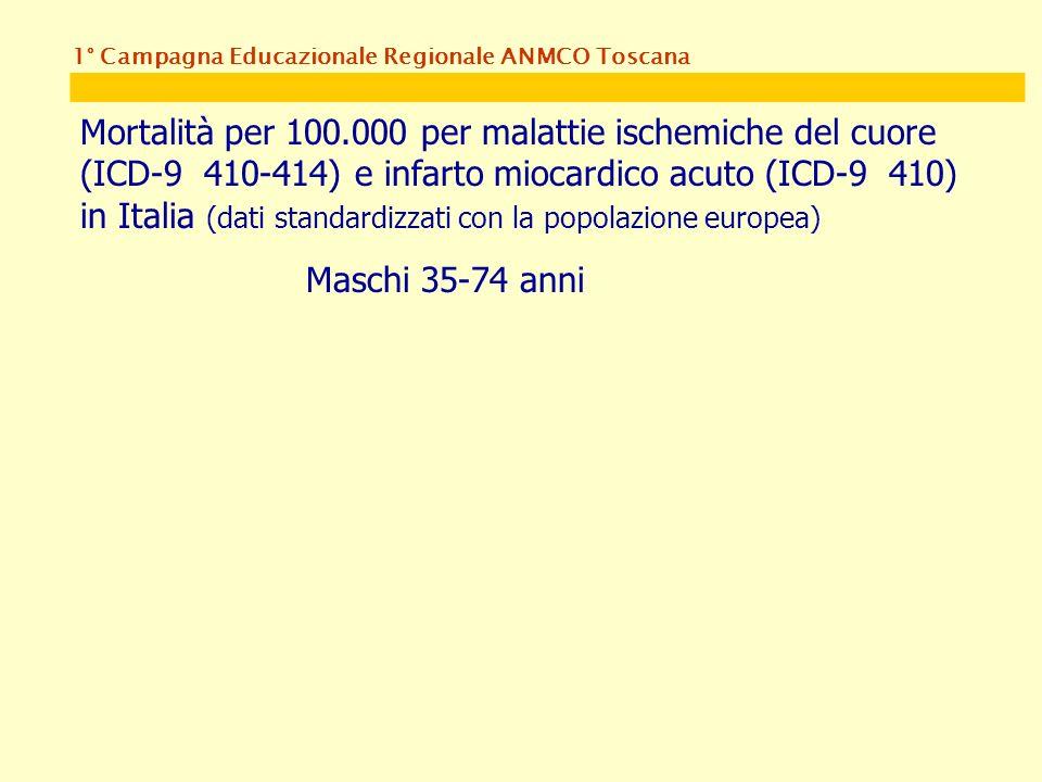 1° Campagna Educazionale Regionale ANMCO Toscana Mortalità per 100.000 per malattie ischemiche del cuore (ICD-9 410-414) e infarto miocardico acuto (ICD-9 410) in Italia (dati standardizzati con la popolazione europea) Maschi 35-74 anni