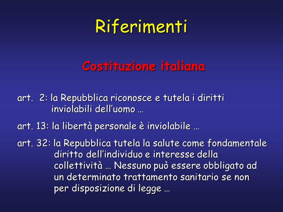 Riferimenti Costituzione italiana art. 2: la Repubblica riconosce e tutela i diritti inviolabili delluomo … art. 13: la libertà personale è inviolabil
