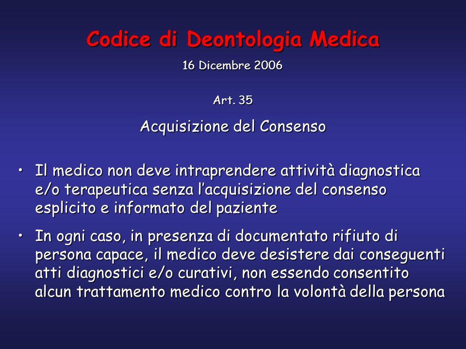 Codice di Deontologia Medica 16 Dicembre 2006 Art. 35 Acquisizione del Consenso Il medico non deve intraprendere attività diagnostica e/o terapeutica