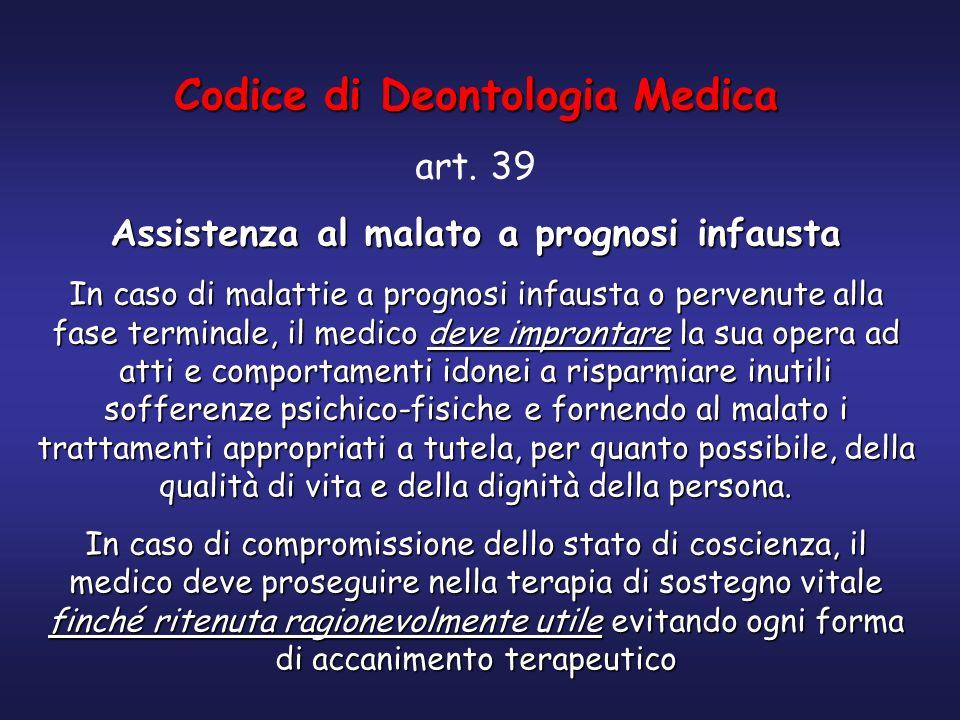 Codice di Deontologia Medica art. 39 Assistenza al malato a prognosi infausta In caso di malattie a prognosi infausta o pervenute alla fase terminale,