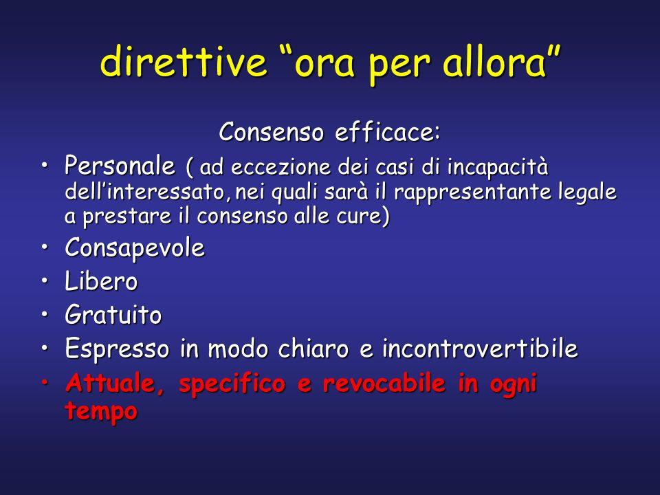 direttive ora per allora Consenso efficace: Personale ( ad eccezione dei casi di incapacità dellinteressato, nei quali sarà il rappresentante legale a