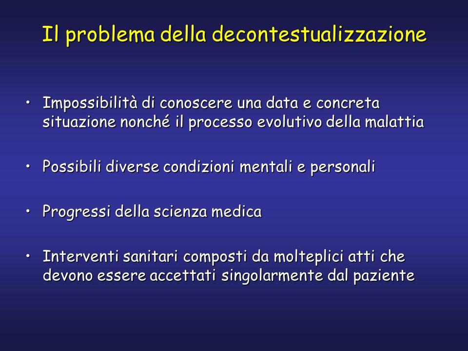 Il problema della decontestualizzazione Impossibilità di conoscere una data e concreta situazione nonché il processo evolutivo della malattiaImpossibi
