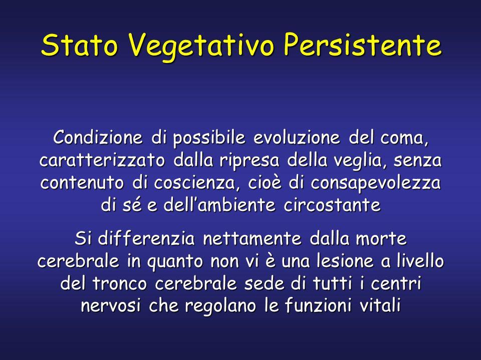 Stato Vegetativo Persistente Condizione di possibile evoluzione del coma, caratterizzato dalla ripresa della veglia, senza contenuto di coscienza, cio