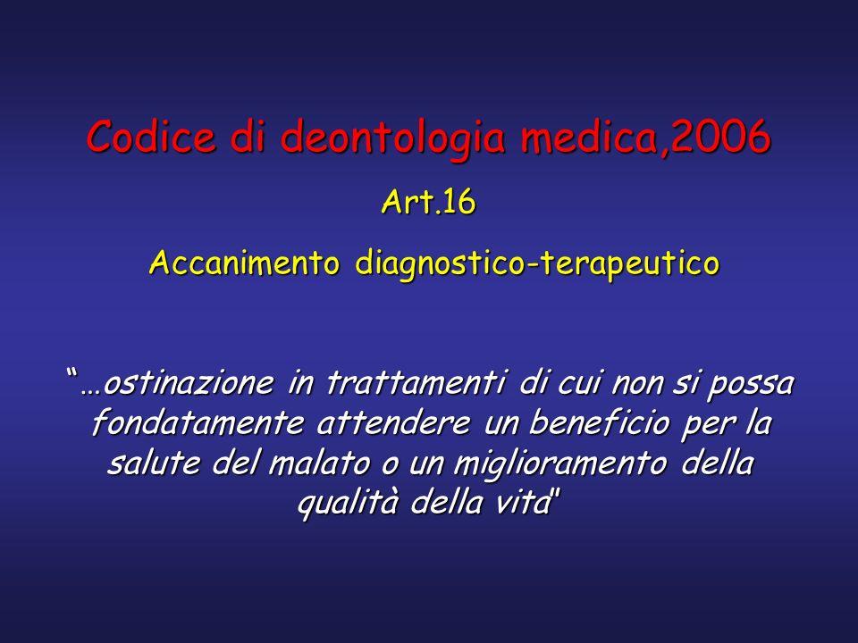 Codice di deontologia medica,2006 Art.16 Accanimento diagnostico-terapeutico Accanimento diagnostico-terapeutico …ostinazione in trattamenti di cui no