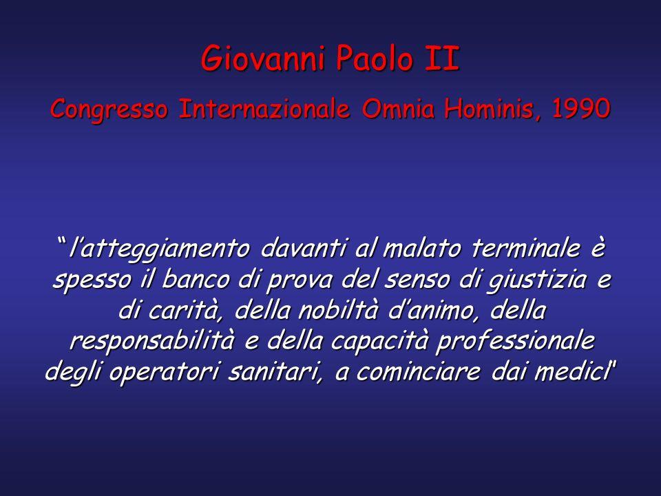 Giovanni Paolo II Congresso Internazionale Omnia Hominis, 1990 latteggiamento davanti al malato terminale è spesso il banco di prova del senso di gius