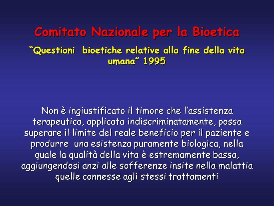 Comitato Nazionale per la Bioetica Questioni bioetiche relative alla fine della vita umana 1995 Non è ingiustificato il timore che lassistenza terapeu