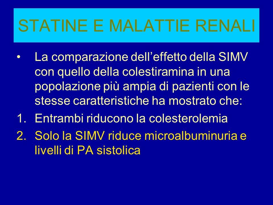 STATINE E MALATTIE RENALI La comparazione delleffetto della SIMV con quello della colestiramina in una popolazione più ampia di pazienti con le stesse