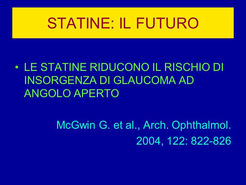 STATINE: IL FUTURO LE STATINE RIDUCONO IL RISCHIO DI INSORGENZA DI GLAUCOMA AD ANGOLO APERTO McGwin G. et al., Arch. Ophthalmol. 2004, 122: 822-826
