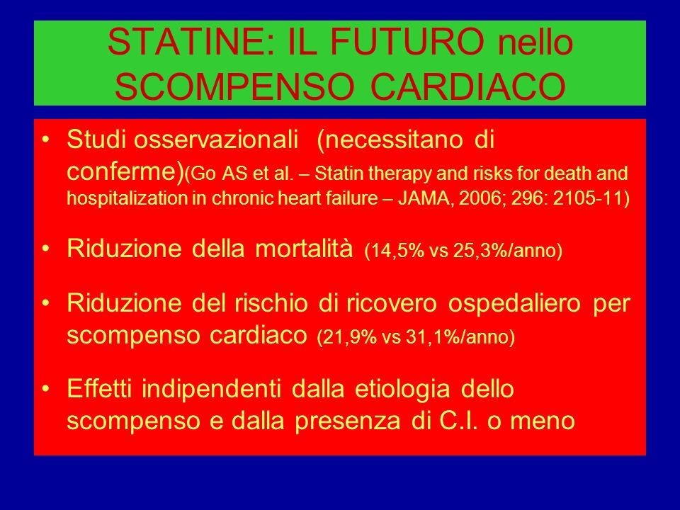 STATINE: IL FUTURO nello SCOMPENSO CARDIACO Studi osservazionali (necessitano di conferme) (Go AS et al. – Statin therapy and risks for death and hosp