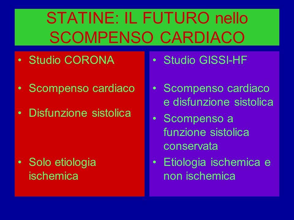 STATINE: IL FUTURO nello SCOMPENSO CARDIACO Studio CORONA Scompenso cardiaco Disfunzione sistolica Solo etiologia ischemica Studio GISSI-HF Scompenso