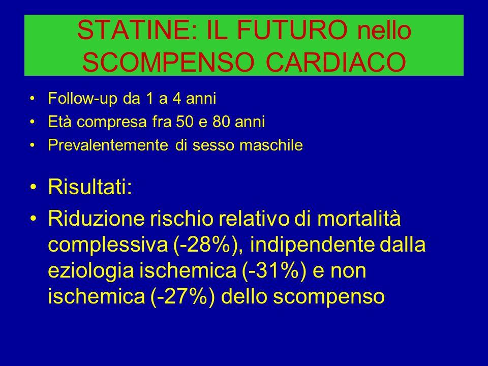 STATINE: IL FUTURO nello SCOMPENSO CARDIACO Follow-up da 1 a 4 anni Età compresa fra 50 e 80 anni Prevalentemente di sesso maschile Risultati: Riduzio