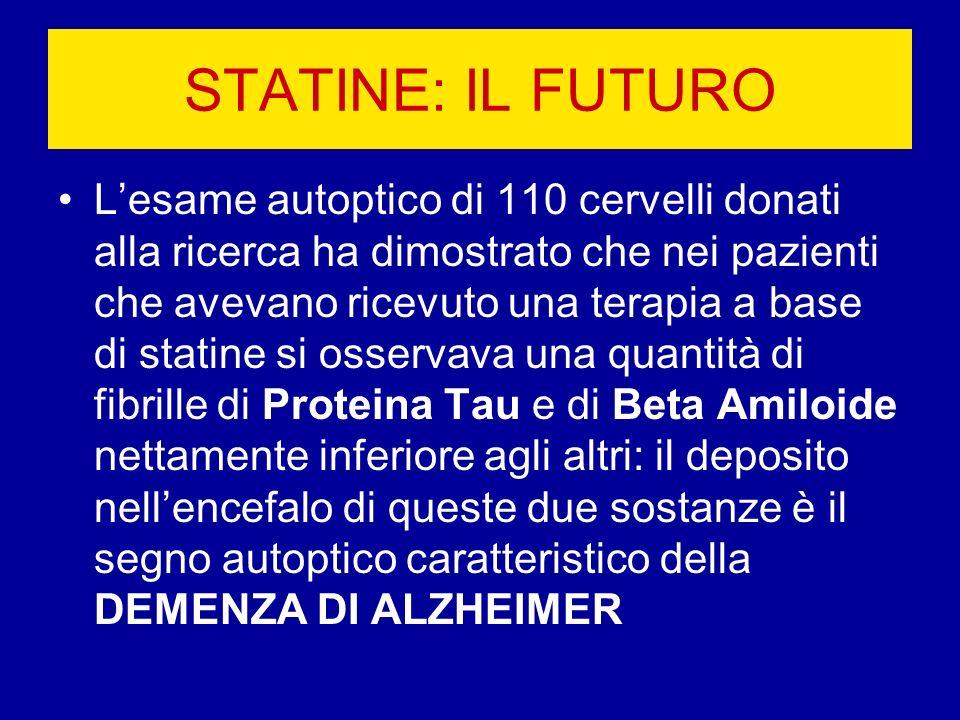 STATINE: IL FUTURO Lesame autoptico di 110 cervelli donati alla ricerca ha dimostrato che nei pazienti che avevano ricevuto una terapia a base di stat