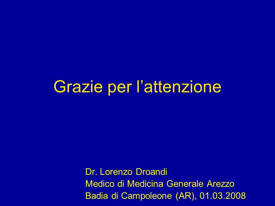 Grazie per lattenzione Dr. Lorenzo Droandi Medico di Medicina Generale Arezzo Badia di Campoleone (AR), 01.03.2008