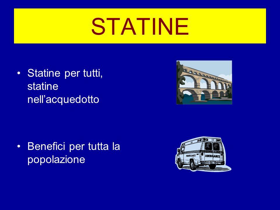 STATINE Statine per tutti, statine nellacquedotto Benefici per tutta la popolazione