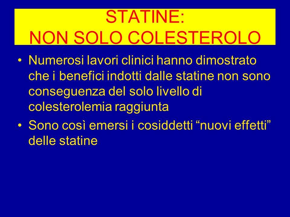 STATINE: NON SOLO COLESTEROLO Numerosi lavori clinici hanno dimostrato che i benefici indotti dalle statine non sono conseguenza del solo livello di c