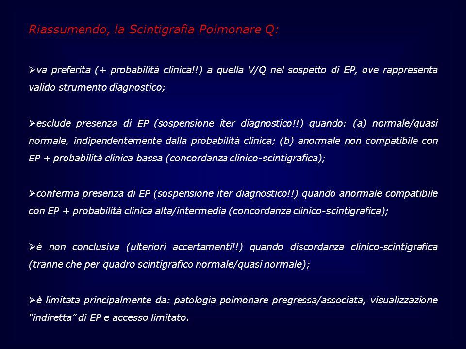 Riassumendo, la Scintigrafia Polmonare Q: va preferita (+ probabilità clinica!!) a quella V/Q nel sospetto di EP, ove rappresenta valido strumento dia