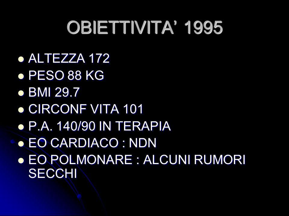 OBIETTIVITA 1995 ALTEZZA 172 ALTEZZA 172 PESO 88 KG PESO 88 KG BMI 29.7 BMI 29.7 CIRCONF VITA 101 CIRCONF VITA 101 P.A. 140/90 IN TERAPIA P.A. 140/90