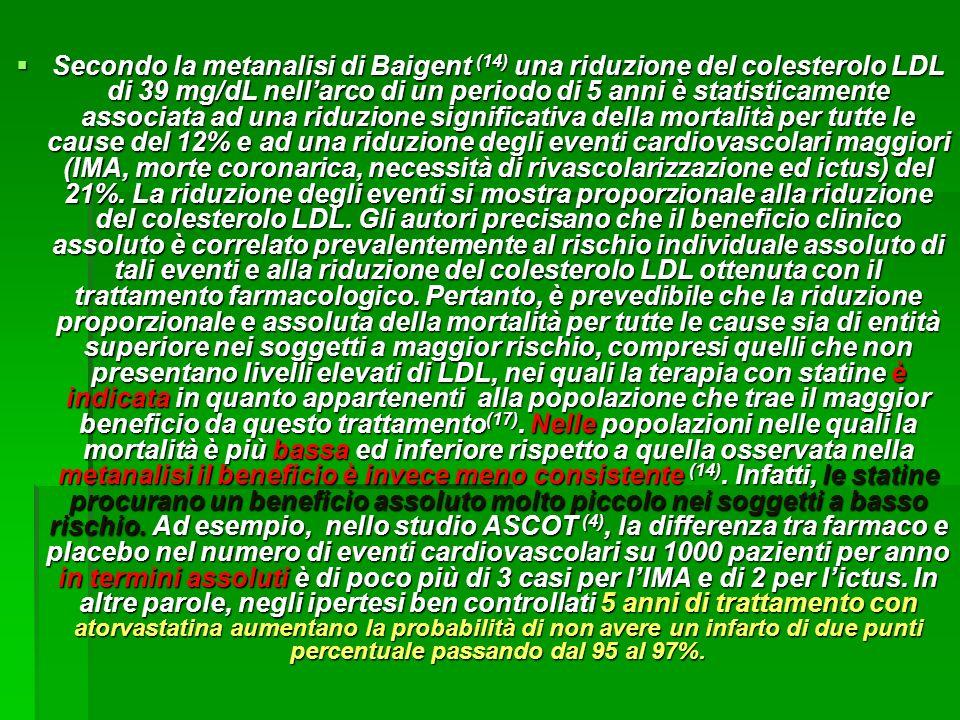 Secondo la metanalisi di Baigent (14) una riduzione del colesterolo LDL di 39 mg/dL nellarco di un periodo di 5 anni è statisticamente associata ad un