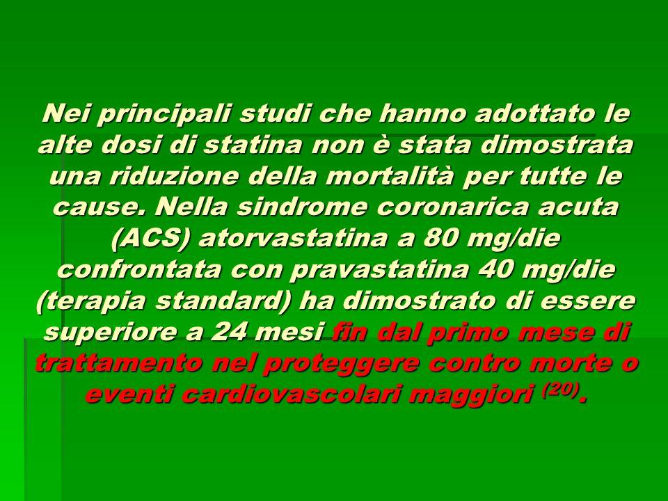 Nei principali studi che hanno adottato le alte dosi di statina non è stata dimostrata una riduzione della mortalità per tutte le cause. Nella sindrom