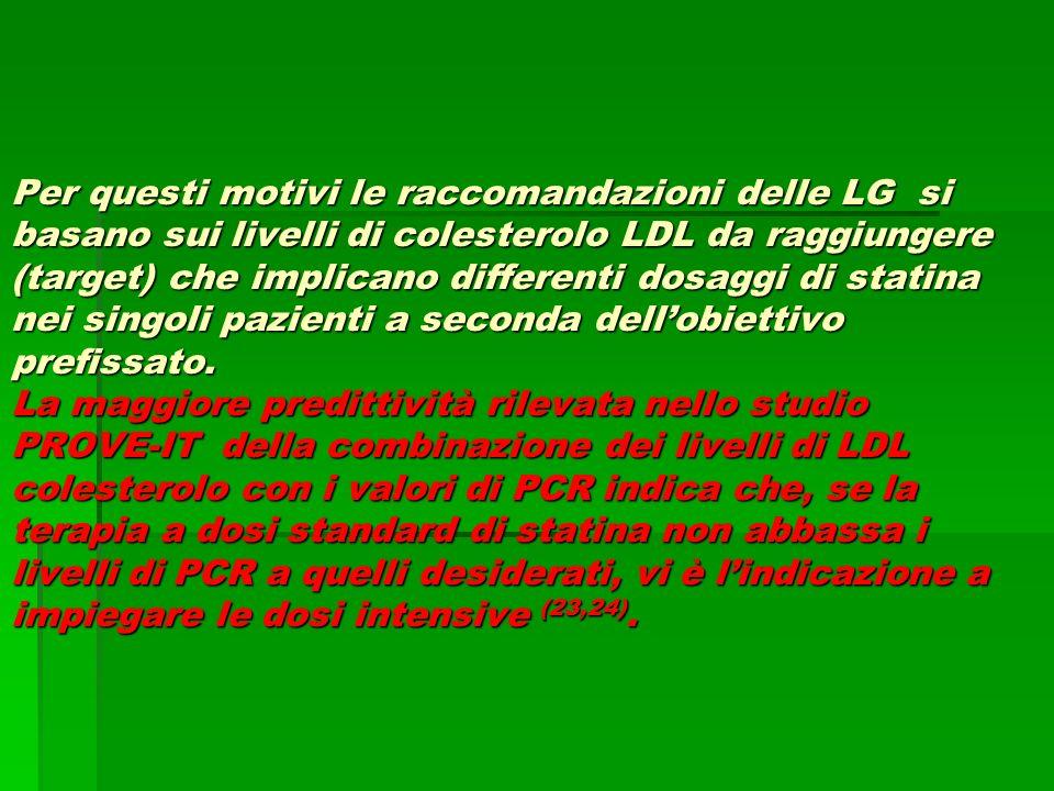 Per questi motivi le raccomandazioni delle LG si basano sui livelli di colesterolo LDL da raggiungere (target) che implicano differenti dosaggi di sta