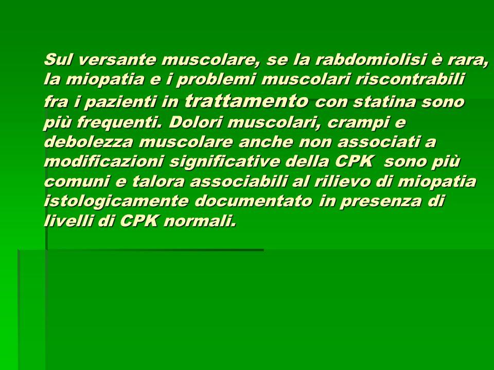 Sul versante muscolare, se la rabdomiolisi è rara, la miopatia e i problemi muscolari riscontrabili fra i pazienti in trattamento con statina sono più