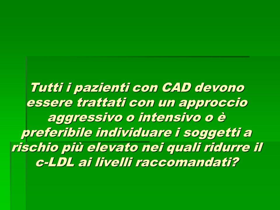 Tutti i pazienti con CAD devono essere trattati con un approccio aggressivo o intensivo o è preferibile individuare i soggetti a rischio più elevato n