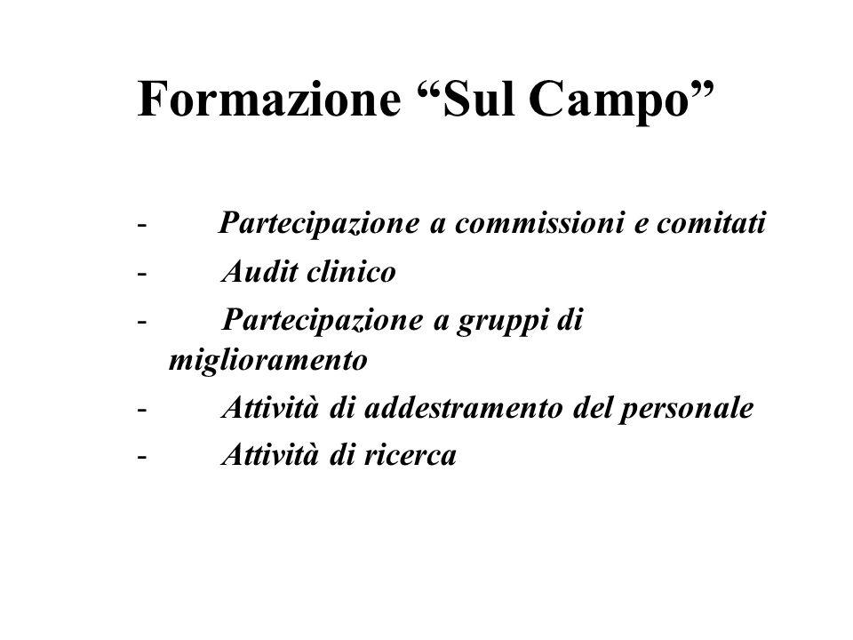 Formazione Sul Campo - Partecipazione a commissioni e comitati - Audit clinico - Partecipazione a gruppi di miglioramento - Attività di addestramento