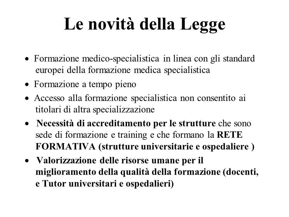 Le novità della Legge Formazione medico-specialistica in linea con gli standard europei della formazione medica specialistica Formazione a tempo pieno