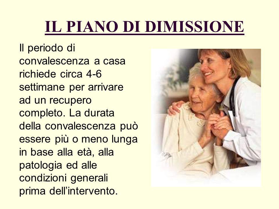 IL PIANO DI DIMISSIONE Il periodo di convalescenza a casa richiede circa 4-6 settimane per arrivare ad un recupero completo. La durata della convalesc