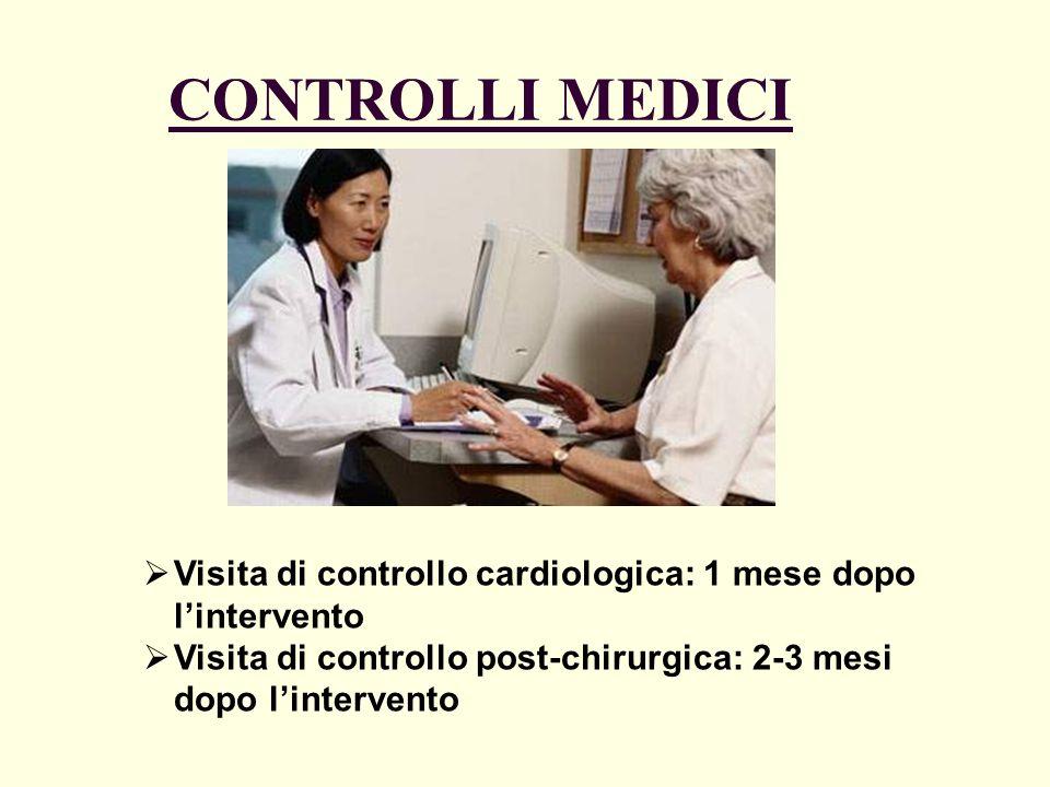 CONTROLLI MEDICI Visita di controllo cardiologica: 1 mese dopo lintervento Visita di controllo post-chirurgica: 2-3 mesi dopo lintervento
