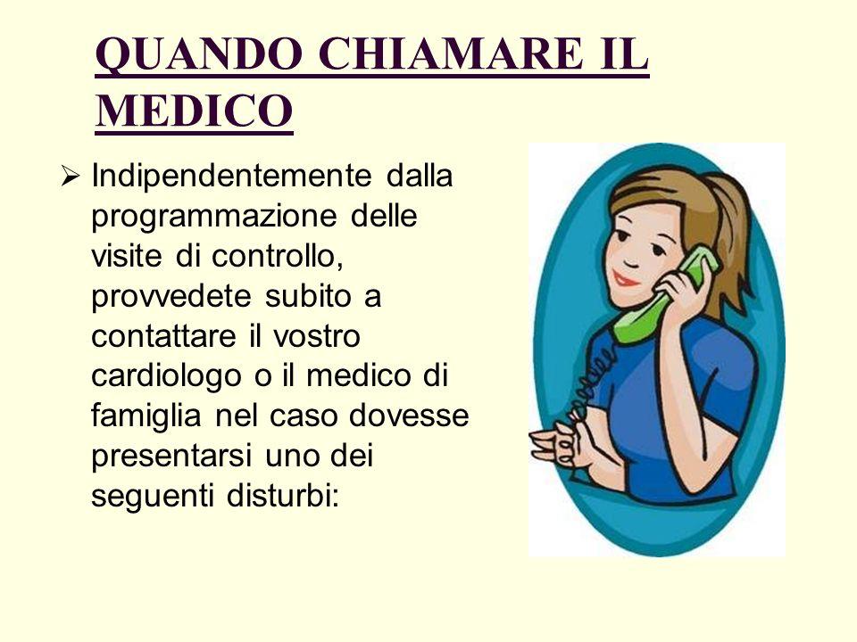QUANDO CHIAMARE IL MEDICO Indipendentemente dalla programmazione delle visite di controllo, provvedete subito a contattare il vostro cardiologo o il m