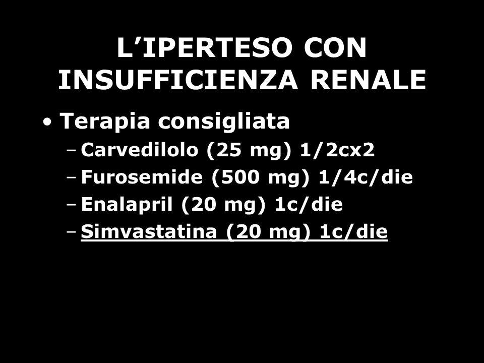 LIPERTESO CON INSUFFICIENZA RENALE Terapia consigliata –Carvedilolo (25 mg) 1/2cx2 –Furosemide (500 mg) 1/4c/die –Enalapril (20 mg) 1c/die –Simvastati