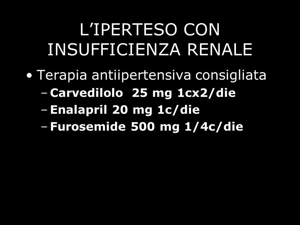 LIPERTESO CON INSUFFICIENZA RENALE Terapia antiipertensiva consigliata –Carvedilolo 25 mg 1cx2/die –Enalapril 20 mg 1c/die –Furosemide 500 mg 1/4c/die