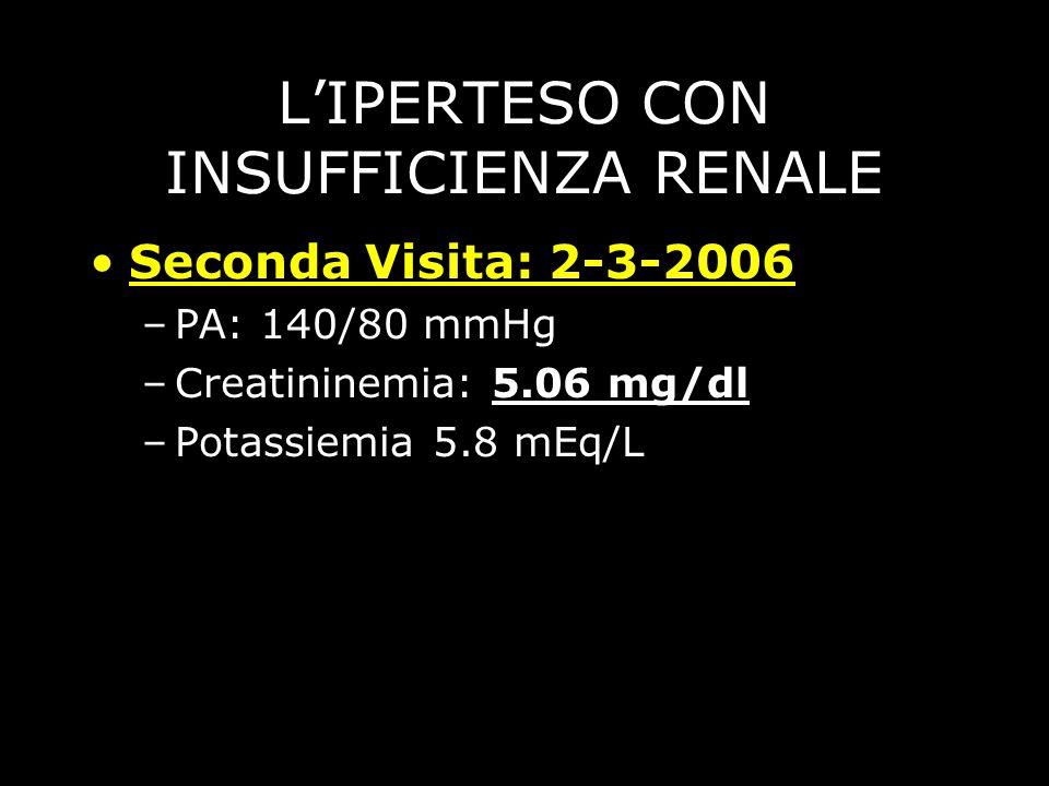 LIPERTESO CON INSUFFICIENZA RENALE Seconda Visita: 2-3-2006 –PA: 140/80 mmHg –Creatininemia: 5.06 mg/dl –Potassiemia 5.8 mEq/L