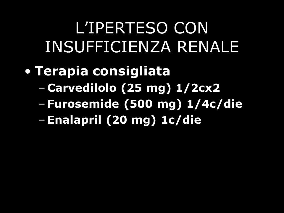LIPERTESO CON INSUFFICIENZA RENALE Terapia consigliata –Carvedilolo (25 mg) 1/2cx2 –Furosemide (500 mg) 1/4c/die –Enalapril (20 mg) 1c/die