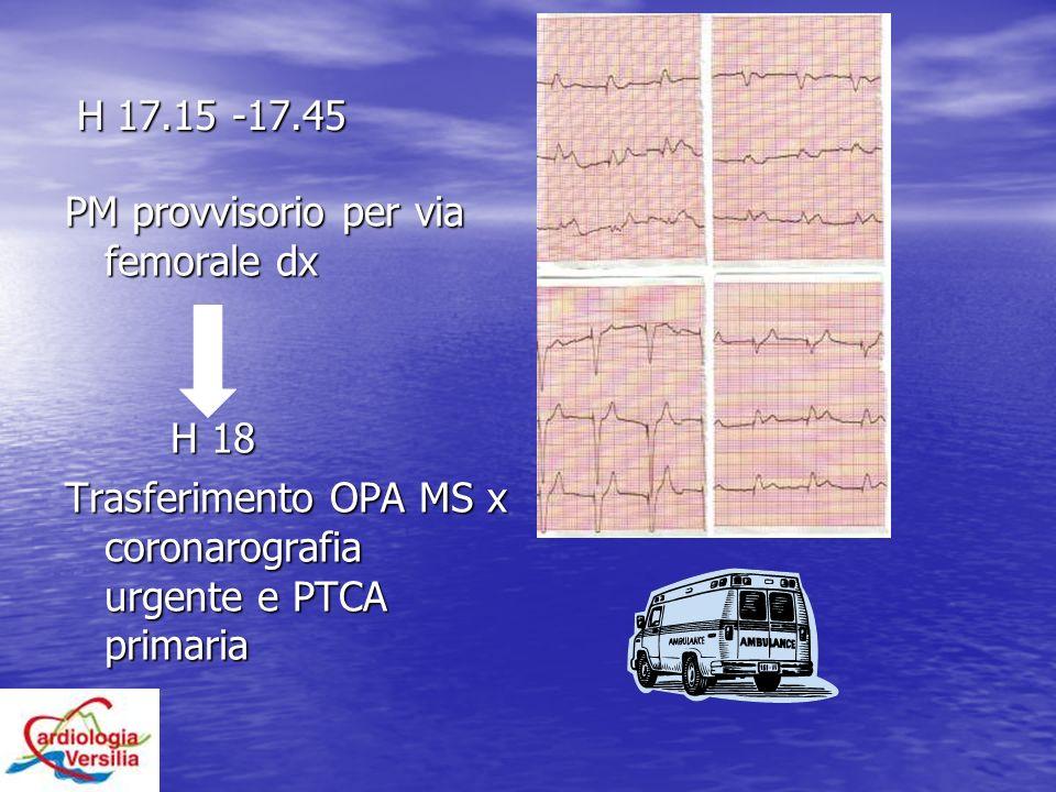 H 17.15 -17.45 H 17.15 -17.45 PM provvisorio per via femorale dx H 18 Trasferimento OPA MS x coronarografia urgente e PTCA primaria
