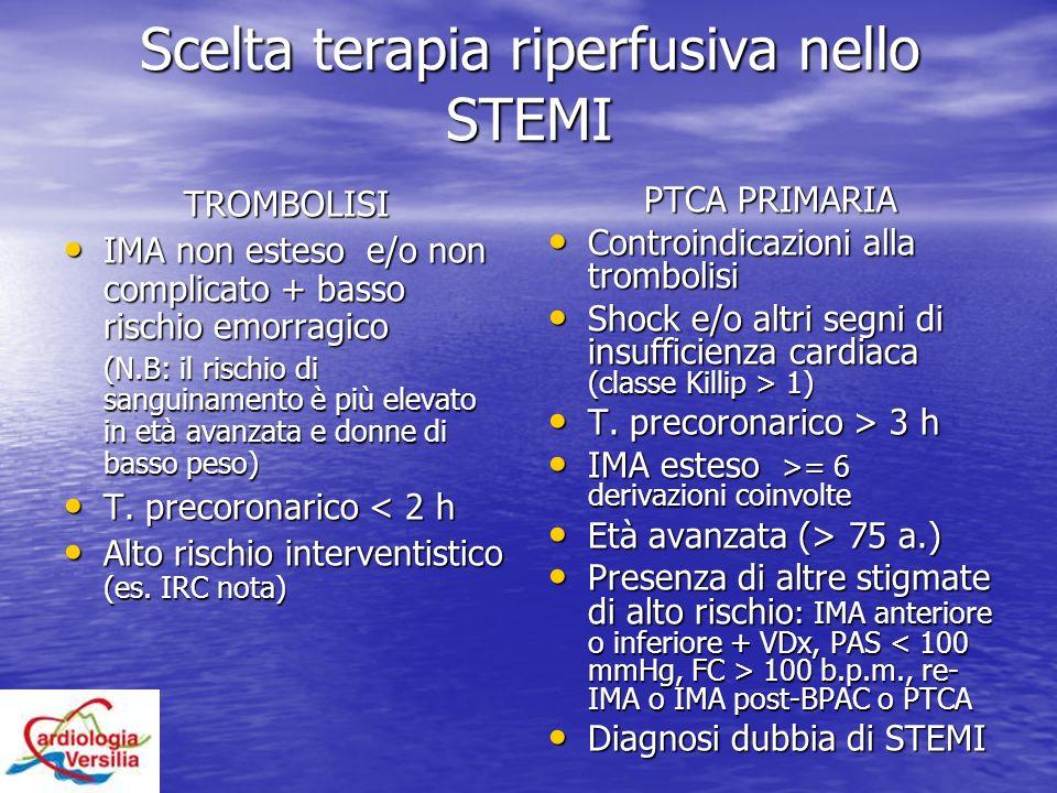 Scelta terapia riperfusiva nello STEMI TROMBOLISI IMA non esteso e/o non complicato + basso rischio emorragico IMA non esteso e/o non complicato + bas