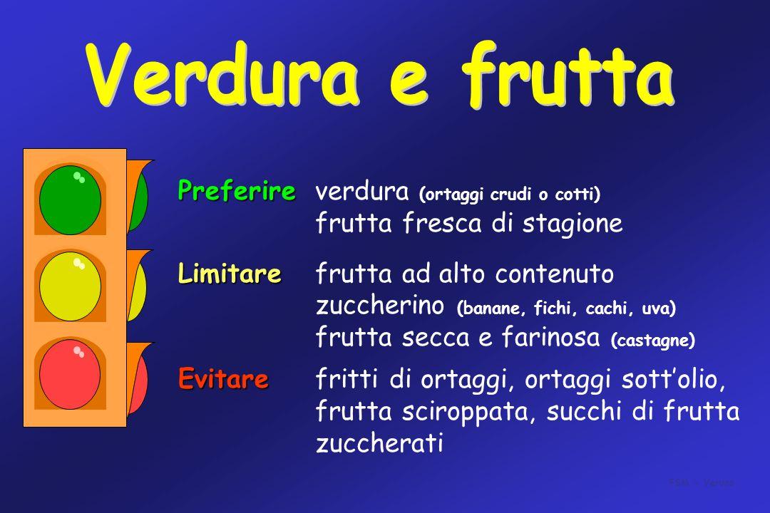 Preferire Preferireverdura (ortaggi crudi o cotti) frutta fresca di stagione Limitare Limitarefrutta ad alto contenuto zuccherino (banane, fichi, cach
