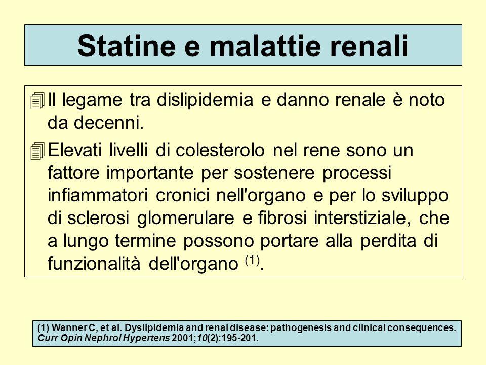 Statine e malattie renali Il legame tra dislipidemia e danno renale è noto da decenni. Elevati livelli di colesterolo nel rene sono un fattore importa