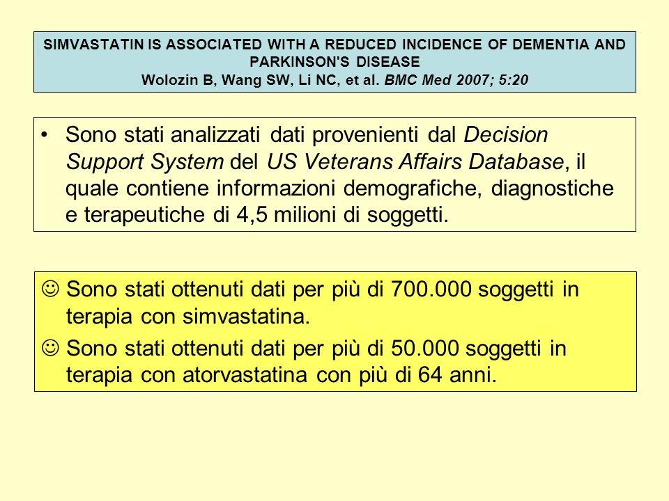 Sono stati analizzati dati provenienti dal Decision Support System del US Veterans Affairs Database, il quale contiene informazioni demografiche, diag