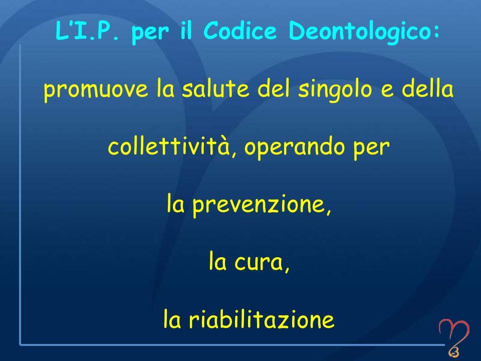 LI.P. per il Codice Deontologico: promuove la salute del singolo e della collettività, operando per la prevenzione, la cura, la riabilitazione