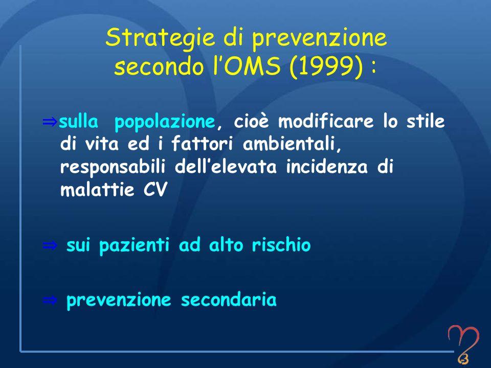 Strategie di prevenzione secondo lOMS (1999) : sulla popolazione, cioè modificare lo stile di vita ed i fattori ambientali, responsabili dellelevata i