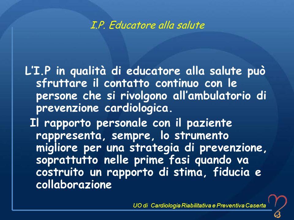 I.P. Educatore alla salute LI.P in qualità di educatore alla salute può sfruttare il contatto continuo con le persone che si rivolgono allambulatorio