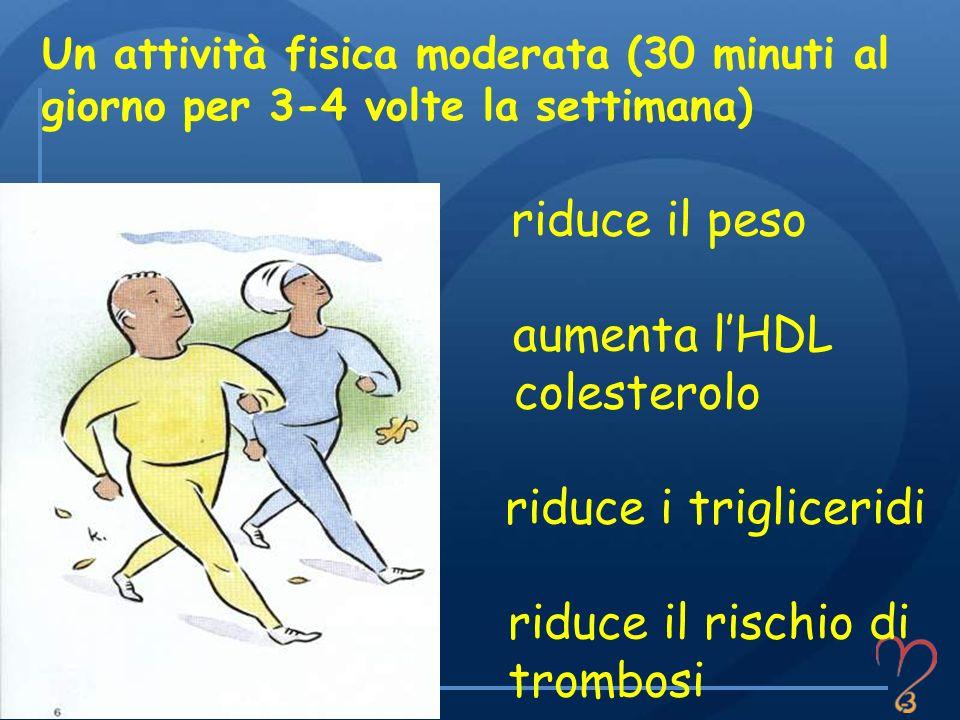 riduce il peso aumenta lHDL colesterolo riduce i trigliceridi riduce il rischio di trombosi Un attività fisica moderata (30 minuti al giorno per 3-4 v