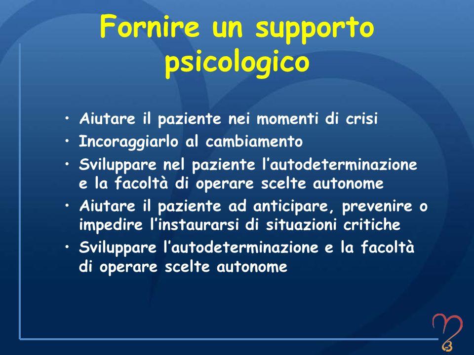 Fornire un supporto psicologico Aiutare il paziente nei momenti di crisi Incoraggiarlo al cambiamento Sviluppare nel paziente lautodeterminazione e la