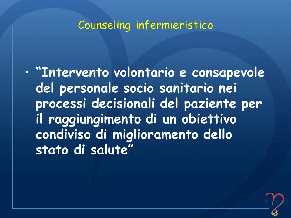 Counseling infermieristico Intervento volontario e consapevole del personale socio sanitario nei processi decisionali del paziente per il raggiungimen